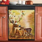 Deer Hunting Mom And Baby Dishwasher Cover Sticker Kitchen Decor