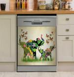 Elephant Flower Dishwasher Cover Sticker Kitchen Decor