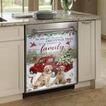 Christmas Family Of Golden Dog Dishwasher Cover Sticker Kitchen Decor