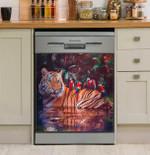 Cute Tiger Art Dishwasher Cover Sticker Kitchen Decor