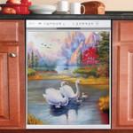 Dreamy Swans Mountain River Scene Dishwasher Cover Sticker Kitchen Decor