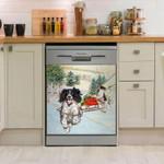 English Springer Gift Truck Pattern Dishwasher Cover Sticker Kitchen Decor