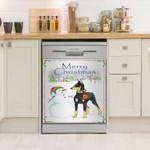 Doberman Merry Christmas Dishwasher Cover Sticker Kitchen Decor