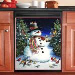 Christmas Snowman And Bird Dishwasher Cover Sticker Kitchen Decor