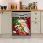 Chocolate Labrador Retriever Smile With Santa Claus Dishwasher Cover Sticker Kitchen Decor