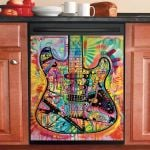 Colorful Electric Guitar Dishwasher Cover Sticker Kitchen Decor