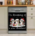 Dreaming Wine Christmas Dishwasher Cover Sticker Kitchen Decor
