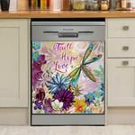 Dragonfly Faith Hope Love Dishwasher Cover Sticker Kitchen Decor