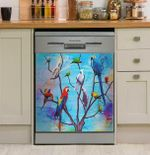 Colorful Parrots On Tree Dishwasher Cover Sticker Kitchen Decor