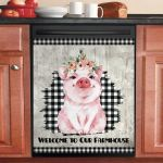 Cute Farmhouse Piglet Dishwasher Cover Sticker Kitchen Decor
