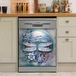Dragonfly Flowers Dishwasher Cover Sticker Kitchen Decor