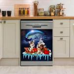 Corgi Moon Dishwasher Cover Sticker Kitchen Decor