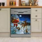 Deer Santa Bring Gifts Dishwasher Cover Sticker Kitchen Decoration