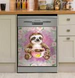 Cute Little Sloth Drinking Purple Dishwasher Cover Sticker Kitchen Decor