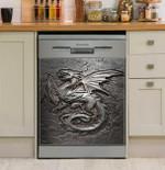 Dragon Cracks Metal Pattern Dishwasher Cover Sticker Kitchen Decor