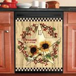 Cream Sunflower Barn Star Dishwasher Cover Sticker Kitchen Decor