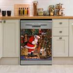 Chihuahua Santa Gift Dog Dishwasher Cover Sticker Kitchen Decor