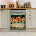 Country Home Flowers Pattern Dishwasher Cover Sticker Kitchen Decor