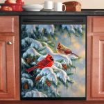 Couple Cardinal And White Snow Dishwasher Cover Sticker Kitchen Decor