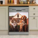 Cute Dog And Cat Farmer Dishwasher Cover Sticker Kitchen Decor