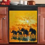 Elephant Fantasy Sun Set Dishwasher Cover Sticker Kitchen Decor