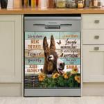 Donkey With Sunflowers Pattern Dishwasher Cover Sticker Kitchen Decor