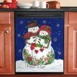 Couple Snowmen Christmas Is Love Dishwasher Cover Sticker Kitchen Decor