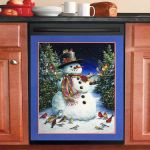 Cute Snowman And Bird Dishwasher Cover Sticker Kitchen Decor