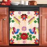 Eastern European Folk Art Flowers Design Dishwasher Cover Sticker Kitchen Decor