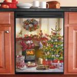 Christmas Cozy Fireplace Dishwasher Cover Sticker Kitchen Decor