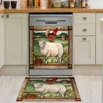 Farm Sheep And Cock Farmland Dishwasher Cover Sticker Kitchen Decor