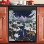 Christmas Wonder Animals Near The Stream Dishwasher Cover Sticker Kitchen Decor