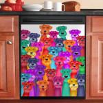 Colorful Schnauzer Dishwasher Cover Sticker Kitchen Decor