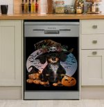 Dog Dachshund Halloween Moon Dishwasher Cover Sticker Kitchen Decor