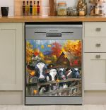 Cow Farm Autumn Dishwasher Cover Sticker Kitchen Decor