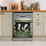 Daisy Cow Green Stable Door Dishwasher Cover Sticker Kitchen Decor