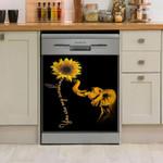 Elephant Sunflower Dishwasher Cover Sticker Kitchen Decor