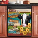 Cow Life Is Short Break The Rules Dishwasher Cover Sticker Kitchen Decor