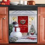 Cute Snowman At Christmas Door Dishwasher Cover Sticker Kitchen Decor
