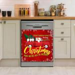 Christmas Car Red Dishwasher Cover Sticker Kitchen Decor