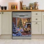 Deer Hunting Christmas Tree Dishwasher Cover Sticker Kitchen Decor