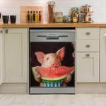 Cute Pig Eating Watermelon Dishwasher Cover Sticker Kitchen Decor