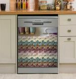 Crochet Colorful Yarn And Pattern Dishwasher Cover Sticker Kitchen Decor