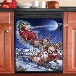 Christmas Santa Sleigh Team Dishwasher Cover Sticker Kitchen Decor