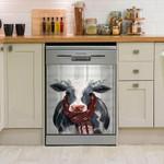 Cow Wear Scarf Pattern Dishwasher Cover Sticker Kitchen Decor