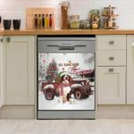 English Springer Car Snow Pattern Dishwasher Cover Sticker Kitchen Decor