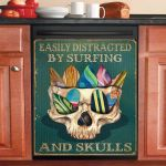 Easily Distracted By Surfing And Skulls Dishwasher Cover Sticker Kitchen Decor