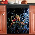 Colorful Octopus Under The Ocean Dishwasher Cover Sticker Kitchen Decor