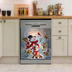 Corgi With Broom And White Snowman Dishwasher Cover Sticker Kitchen Decor