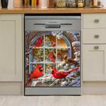 Cutie Cardinals Snow Christmas Dishwasher Cover Sticker Kitchen Decor